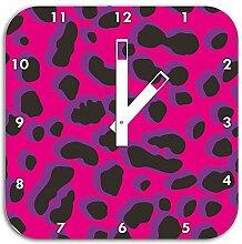 Leopard Lila, Wanduhr Durchmesser 28cm mit schwarzen eckigen Zeigern und Ziffernblatt, Dekoartikel, Designuhr, Aluverbund sehr schön für Wohnzimmer, Kinderzimmer, Arbeitszimmer