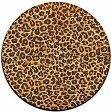 Leopard Print rund Boden Teppich Fußmatten für Esszimmer Schlafzimmer Küche Badezimmer Balkon