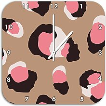 Leopard Rosa, Wanduhr Durchmesser 28cm mit weißen spitzen Zeigern und Ziffernblatt, Dekoartikel, Designuhr, Aluverbund sehr schön für Wohnzimmer, Kinderzimmer, Arbeitszimmer