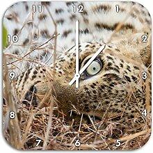 Leopard, Wanduhr Quadratisch Durchmesser 48cm mit weißen spitzen Zeigern und Ziffernblatt, Dekoartikel, Designuhr, Aluverbund sehr schön für Wohnzimmer, Kinderzimmer, Arbeitszimmer