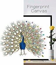 leosi Leinwand Hochzeit Fingerabdruck Dekoration DIY Gästebuch mit Stempelkissen, pfau, L:60*75cm(23.6*29.5 Inch)