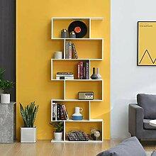 LEPAK 6 Ebenen Bücherregal Regal Weiß Holz