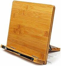 Leseständer Holz Bambus Buchständer Kochbuchhalter - Große Ausführung 28cmx21cm