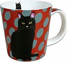 Leslie Gerry Becher aus Porzellan, Katze, Schwarz