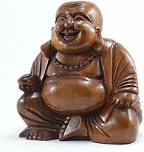 LESTARIE Happy Buddha 20cm Glücksbuddha Suar Holz
