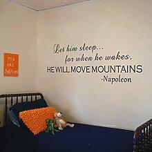 "Let Him Sleep Wand Aufkleber Er will Move Mountains Kinderzimmer Mädchen Jungen Wandtattoo Tapete Wandmalereien, Vinyl, schwarz, 20""""hx58""""w"