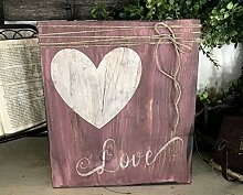 Letitia48Maud Liebesschild rustikal rosa