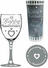 letss handbemalt Weinglas und Untersetzer Set–Jahrestag