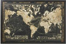Leuchtbild Weltkarte mit schwarzem Rahmen 180x120