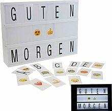 Leuchtbox mit 100 Buchstaben Smilies Zeichen