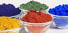 Leuchtende Farbpigmente Fluoreszierende Farbe in Blau, Grün, Gelb, Rot oder Orange in TOP-Qualität | BEKATEQ Farbpulver | Lösemittelfrei, Ungiftig, für intensive Leuchtfarbe | Nachtleuchtfarbe Glow in the Gark UV Farbe (100g, Gelb)