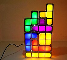 Leuchtende spielzeug bunte diy tetris lampe
