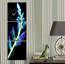 leuchtende wanduhr rahmenlose wohnzimmer restaurant dekoration blume leinwand gemalt, wanduhr , 60*60cm