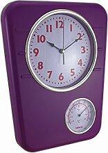 Leuchtendes Violett Wanduhr mit Temperaturanzeige