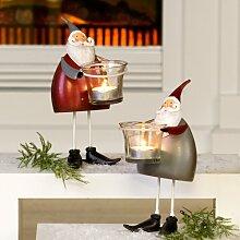 Leuchter Funny Santa 1 Stück rot oder grau Gartendekoration Weihnachtsdekoration Gartendeko Adven