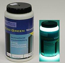 Leuchtfarbe NighTec Eco-Green Wandfarbe - die hellste türkise Leuchtfarbe - 1 Liter