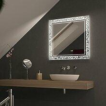 Leuchtspiegel mit gelasertem Motiv Ornaframo - B 800mm x H 1000mm - neutralweiss