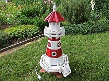 Leuchtturm 0,92 Meter Rot/Weiß mit Beleuchtung