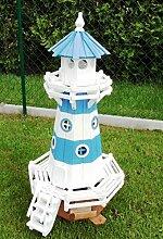 Leuchtturm 1,15 Meter Blau/Weiß mit Beleuchtung