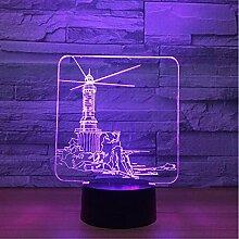 Leuchtturm Design 3D Led Nachtlicht, 7 Farbwechsel