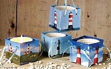 Leuchtturm Kerzentopf 4 Stück Papiertüte