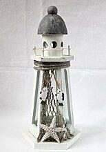Leuchtturm Laterne Windlicht 33cm Holz und Glas für ein Teelich