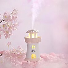 Leuchtturm Luftbefeuchter 150 ML Kreative Persönlichkeit Mini USB Home Stumm Led Nachtlicht Luftreiniger,Pink