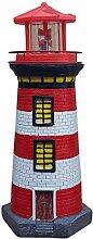 Leuchtturm mit rundum Solar Beleuchtung Leuchtfeuer 37cm versch. Farben wählbar Maritime Deko (Rot)