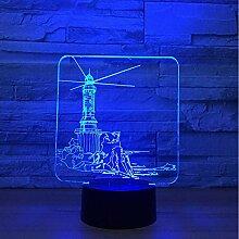 Leuchtturm Modell LED 3D Nachtlicht 7 Farbwechsel