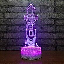 Leuchtturm Nachtlicht 3D Led Kleine Illusion Lampe