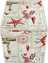 Leuchtturm rot maritime Tischläufer 40x100 cm beige Nautik Vintage Läufer Table Runner J. Schleiß/Deutschland (40 x 100 cm)