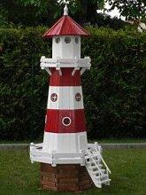 Leuchtturm XXL 2,20 Meter Rot/Weiß mit Licht wie in der Natur
