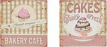 levandeo 2er Set Blechschild Metall 30x30 Rosa Wandschild Vintage Shabby Chic Küche Cafe Nostalgie Dekoration Schild