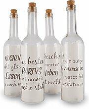 levandeo 4 Deko LED Flaschen 30x7cm Glas Küche