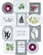 levandeo Bilderrahmen 12 Fotos Collage Weiß Grau