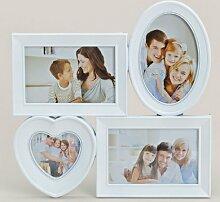 levandeo Bilderrahmen Herz für 4 Fotos in weiß