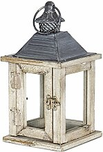 levandeo Laterne Holz 27x13x13cm Metall Glas Natur