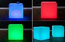 levandeo LED Würfel Hocker Sitzwürfel - Design Lounge Cube Beistelltisch Couchtisch mit Fernbedienung Netz- und Akkubetrieb Designer Möbel Tisch 15 Farben Farbwechsel indoor und outdoor