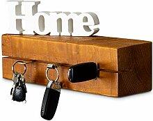 levandeo Schlüsselbrett Holz Massiv 35x10cm Teak