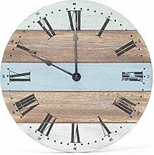 levandeo Wanduhr 28cm rund Holz Blau Weiß Natur