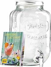 Levivo Getränkespender aus Glas, mit Zapfhahn,