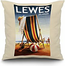 Lewes, Delaware - Beach Chair and Ball (18x18 Spun Polyester Pillow Case, White Border)