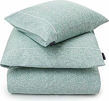LEXINGTON bedruckt Satin Bettwäsche, weiß/grün, Betten