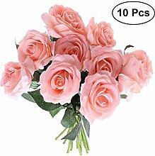 LEXPON 10pcs Künstliche Blumenstrauß Seiden Rose