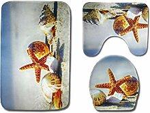 LEXPON 3-Teiliges Badezimmer Teppich Set Nautical
