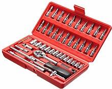 LEXPON 46 Stück Steckschlüssel Satz Torx- Schlitz Phillips Pozidrive bit Werkzeugkoffer Handwerkzeuge Universal Reparatur Werkzeuge Ratschen Sechskan