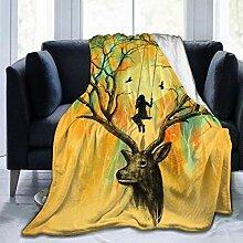 Leyhjai Fleece Decke Playmate Hirsch Bäume