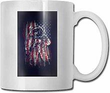 Leyhjai Porzellan Kaffeebecher Astronauten Flagge