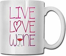 Leyhjai Porzellan Kaffeebecher Live Love Wein