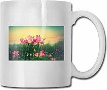 Leyhjai Porzellan Kaffeebecher Rosa Lilienblume